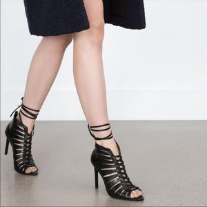 Zara sandal lace up heels